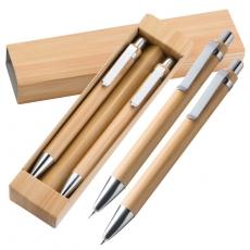 10 x Kugelschreiber Set aus Bambus mit Kugelschreiber und Druckbleistift